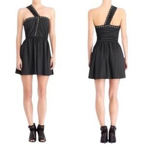 NWT Rachel Roy Black Studded One Shoulder Dress 6